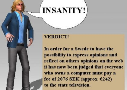 Sweden's new computer-licence-fee violates basic human rights?